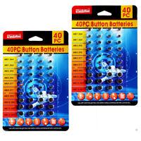 80 Pk Button Cell Batteries Alkaline Coin Watch Calculator Electronics Assorted