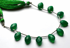 """Best GREEN Chalcedony Faceted OVAL SHAPE  Briolettes Beads 10 - 11 MM  6"""" STAND"""
