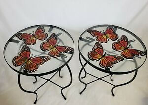 New! Metal Butterfly Stained Glass Top Accent Tables