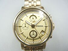 NEW OLD STOCK FOSSIL BOYFRIEND ES2197 CHRONOGRAPH GOLD PLATED QUARTZ MEN WATCH