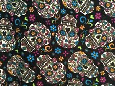 """fleece Fabric Dia De Los Muertos Calaveras Sugar Skulls 60"""" wide, sold BTY"""