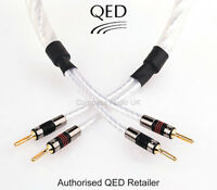 2 x 1.5m QED GENESIS SILVER SPIRAL Speaker Cable AIRLOC Forte Plugs Fitted