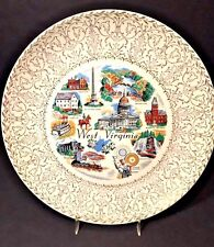Vtg Souvenir Porcelain West Virginia State Collectors Plate Full Color 22K Gold