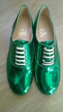 Very rare Christian Louboutin metallic green Fred flats brogues 37 UK 4 new!