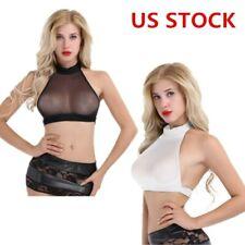 Womens Sexy Sheer Mesh Crop Tops Sleeveless See Through Bra Vest Shirt Blouse US