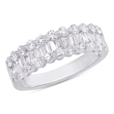 1.36 CT 14K White Gold Channel Set Baguette Round Cut Diamond Wedding Band Ring