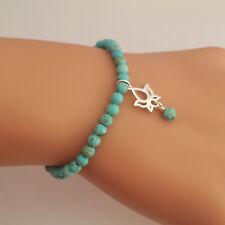 Sterling Silver Lotus & Turquoise Howlite Gemstone Beaded Bracelet Handmade U.K