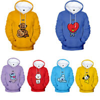 KPOP BTS BT21 Hooded Sweatshirt Bangtan Boys Hoodies Casual Sweater Jimin V JIN