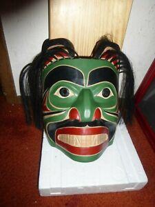 "Northwest Coast Salish Deep Hand Carved Cedar  ""Bear"" Mask""-Janice Moran"