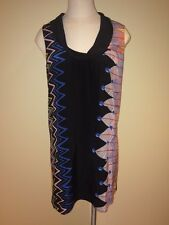 TIBI Abstract Zigzag Feather Print Multicolor Silk Shift Dress Sz. Small