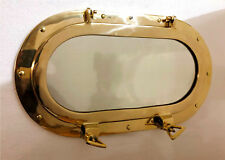 Antique Oval Brass Porthole Gold Finish Port Mirror Wall Hanging Ship Porthole