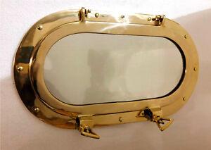 Antique Oval Brass Porthole Gold Finish Port Mirror Wall Hanging Ship Porthole