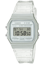 Casio F91WS-7, Digital Chronograph Watch, Clear Jelly Resin Band, Alarm, Date
