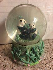 "Vintage Pandas Bears W/ Bamboo Music Box Snow Globe ""Its a Small World"""