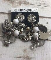 anne klein statement earrings silver tone clip on