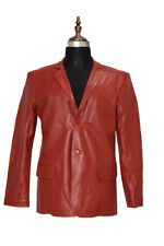 Men Red Leather Blazer 2 button 100% real Sheep Skin Real Leather Blazer Jackets