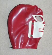 Latex Rubber Fitted Hood RED Rear zip - MEDICAL Hood with detachable Mask S-XL