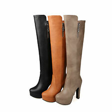Ladies Shoes Synthetic Leather Platform High Heels Zip Knee Boots UK Size b084