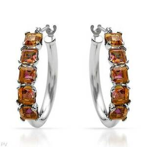 Beautiful New Hoop Earrings With 1.50ctw Genuine Topaz Made in  10K White Gold