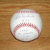 1982 BREWERS Cal McLish signed STAT baseball  w/ '82 AL Champs &1982 WS AUTO JSA