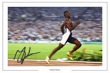 Michael Johnson Athletics Autographe Signé imprimé photo