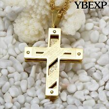 Men Stainless Steel Gold Cuban Curb Link Chain Necklace Cross Pendant 24""