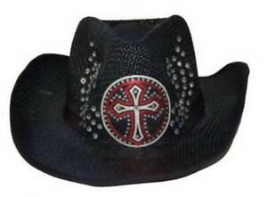 Cross Rhinestone Embedded Straw Cowboy Hat