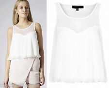 TOPSHOP  WHITE JERSEY PLEAT VEST with MESH PANELLING  SLEEVELESS  SIZES 6-14