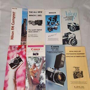 Lot of 8 VTG Camera Sales Brochures Pamphlets Nikon Minolta Canon Olympus, etc.