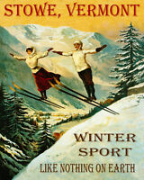 POSTER STOWE VERMONT COUPLE SKI JUMPING WINTER SPORT VINTAGE REPRO FREE S/H