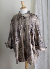 Ralph Lauren -Sz 3X Elegant Animal Funky Print Lightest-Weight Cotton Shirt Top
