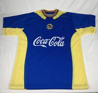 Club America Men's Technical T-Shirt Jersey XL Blue Yellow Coca Cola Corona Beer