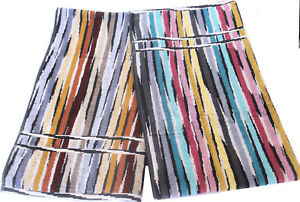 MISSONIHOME TWO BATH TOWELS  GIFT BRANDED PACKAGING JEFF BLUE & BROWN COTTON