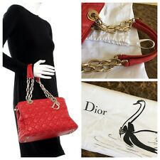 Christian Dior Soft Lady Lambskin Cannage Chain Shopping Tote Red GHW W rcpt 2952a3e70a325
