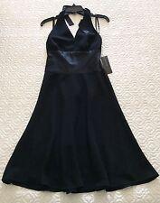 Jones New York Black Halter Empire Waist Cocktail Dress Lined Zipper Sz 4