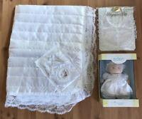 Christening LOT Baby Girl Blanket White Lace Bib Shoes Eden Doll NEW