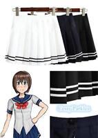 Girls Women Japanese College School Uniform Short JK Sailor Solid Pleated Skirt