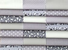 "Fabric patchwork squares 30 x 5"" 12.5cms cotton quilting craft baby grey 4W"