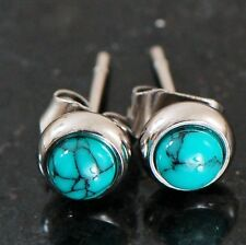 1 Pair Bezeled 6 mm Semi Precious Turquoise Stone 316L Surgical Steel Earrings