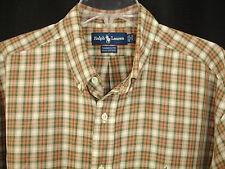 Ralph Lauren Yarmouth Check Shirt White Brown Green Cotton Sz 17 34/35