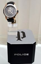 Genuine POLICE Designer watch Mens Men's Black Skull Skeleton RRP£250 NEW