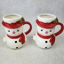 2  Pottery Barn Figure Snowman Christmas Coffee Mug, New No Box