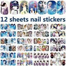 12 sheets frozen mixed design water transfer nail art decorations stickers decal