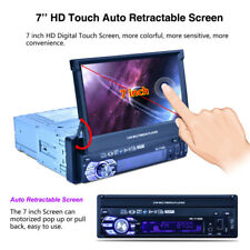"7"" 1DIN Bluetooth Car Stereo Radio MP5 Player GPS Retractable Screen Mirror Link"