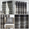 Grey Eyelet Curtains Tartan Check Plaid Modern Ready Made Lined Ring Top Pairs