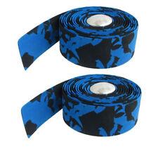 2 x Cinta Azul Negro para Manillar de Bicicleta Barra Plateado F4A3