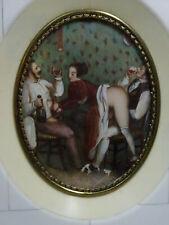 rare Akt & Erotika antik Gründerzeit Miniaturmalerei Lupenmalerei Bein Rahmen