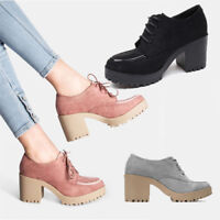 WOMENS CASUAL CHUNKY GRIP SOLE BLOCK HEEL LACE UP OXFORD SHOES BOOTS SIZE 3-8
