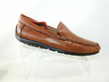 Ecco Size 12 M Brown Leather Moc Toe Driving Slip On Loafer Dress Mens Shoes
