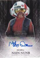 2015 Topps Star Wars The Force Awakens Mike Quinn Nien Nunb Auto Autograph 04/25